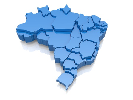 three objects: Three-dimensional map of Brazil on white background  3d