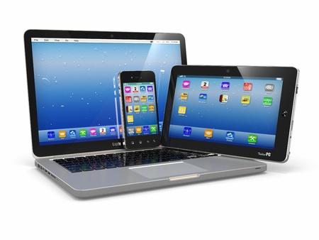 datos personales: Ordenador port�til, tel�fono y tablet pc dispositivos electr�nicos 3d