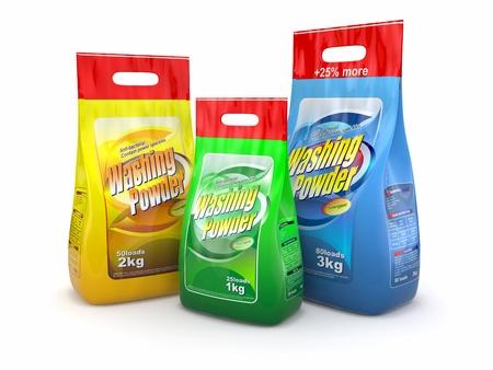 productos quimicos: Tres paquete de detergente sobre fondo blanco 3D Foto de archivo