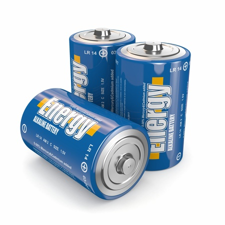 cadmium: Energy batteries on white backround  Three-dimensional image  3d