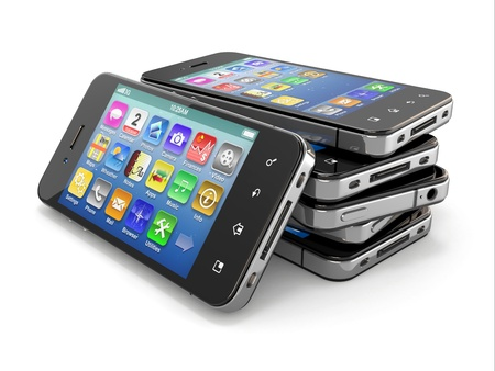gsm phone: Set of mobile phones with touchscreen  3d Stock Photo