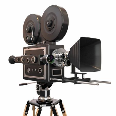 cinta pelicula: Vintage c�mara de cine 3D Foto de archivo