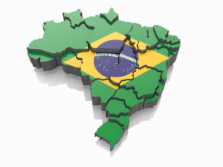 brazil symbol: Map of Brazil in Brazilian flag colors  3d