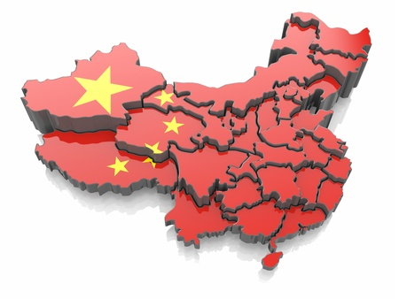 Map of China in national flag colors  3d photo
