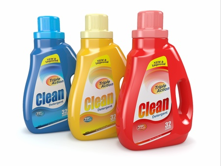 cleaning products: Plastic detergent bottles on white background  Cleaning products  3d Stock Photo