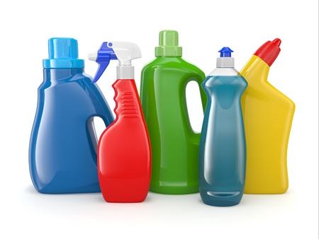 productos quimicos: Botellas de plástico de detergente en el fondo blanco 3d Productos de limpieza Foto de archivo