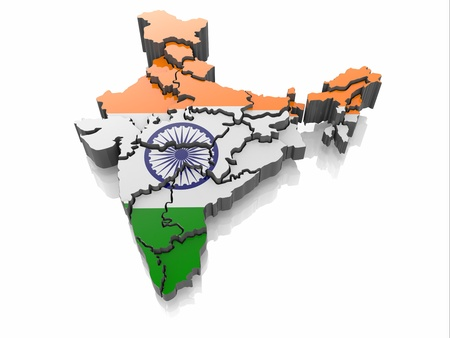 india 3d: Map of India in Indian flag colors  3d