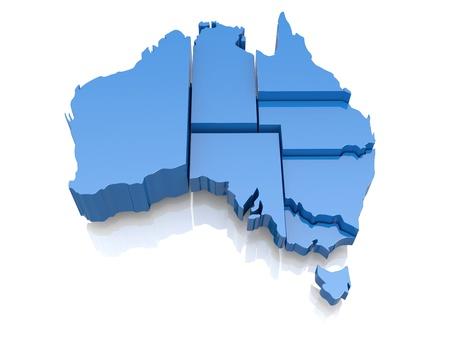 Three-dimensional map of Australia on white background  3d photo