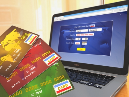 E-commerce  Credit cards on laptop  Three-dimensional image Stock Photo - 16647967