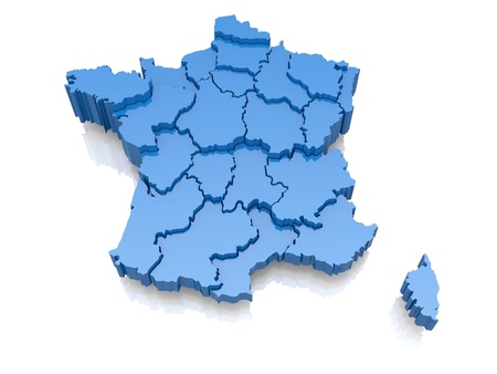 regions: Three-dimensional map of France on white background  3d