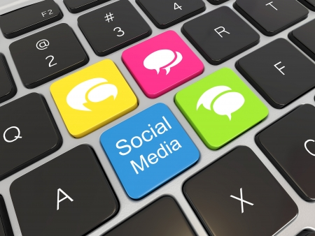 Social media on laptop keyboard  Conceptual image  3d Stock Photo - 16647949