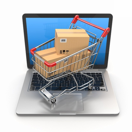 E-commerce  Shopping cart with cardboard boxes on laptop  3d photo