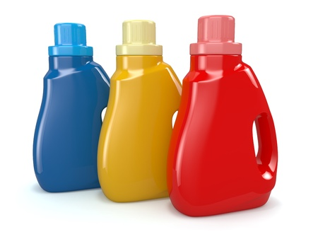 disinfect: Plastic detergent bottles on white background  Cleaning products  3d Stock Photo