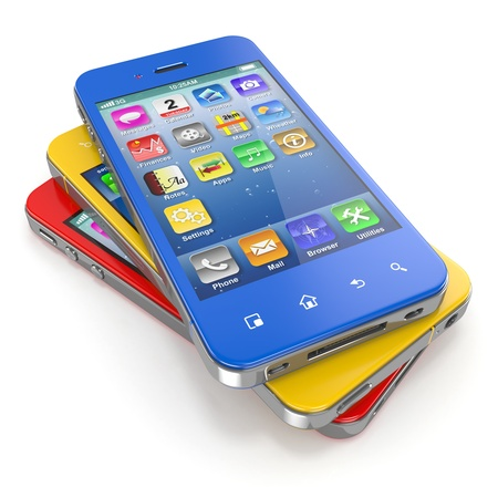 personal assistant: Set of mobile phones with touchscreen  3d Stock Photo