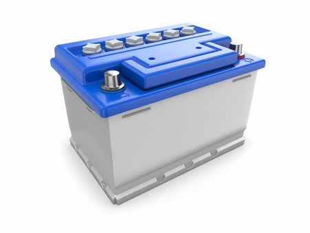 Car battery on white background  Three-dimensional image Stock Photo - 16647942