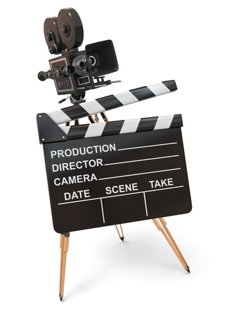 Movie composition  Vintage camera and clapperboard  3d photo