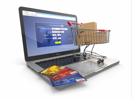 internet store: E-commerce  Shopping cart and credit cards on laptop  3d