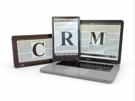 Text CRM on screen of laptop, tablet  pc  3d photo