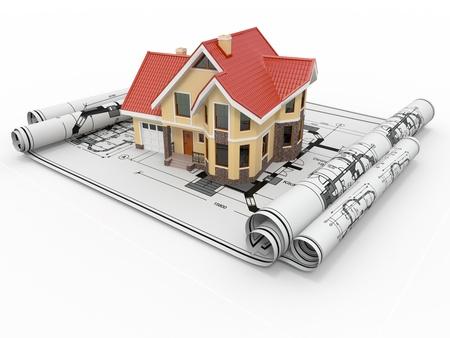zakelijk: Het woonhuis van architect blauwdrukken Housing project 3D