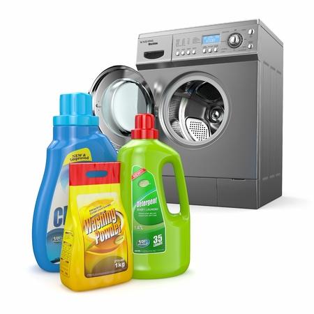 Washing machine and detergent bottles on white backround  3d photo