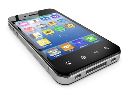 smart  phone: Mobile phone on white background  Three-dimensional image  3d