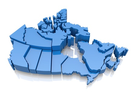 canada: Three-dimensional map of Canada on white background  3d Stock Photo