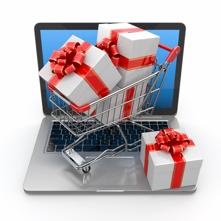 internet shopping: E-commerce. Shopping cart and gifts on laptop. 3d