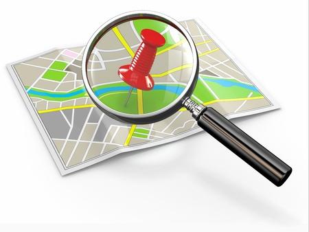 Finden Sie den Ort Lupe und Reißzwecke auf Map 3D