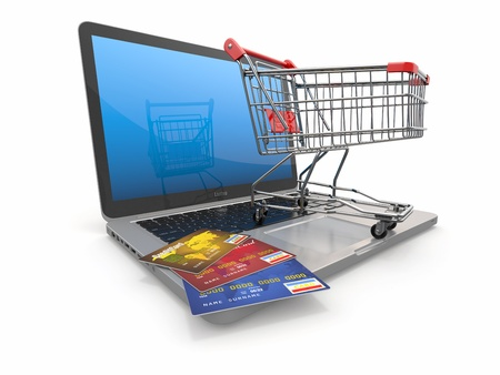 e store: E-commerce  Shopping cart and credit cards on laptop  3d