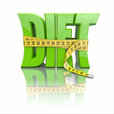 Text Diet and measuring tape on white background  3d photo