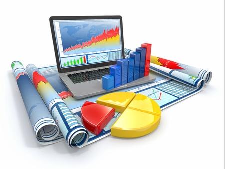 medium close up: Business analyze  Laptop, graph and diagram  3d