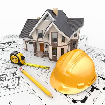 Woonhuis met gereedschap op architect blauwdrukken Housing project 3D