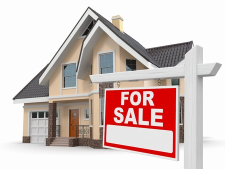 Home for Sale sign on white background  3d Stock Photo - 17156144