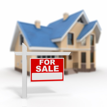 Home for Sale sign on white background  3d photo
