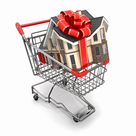 House gift with bow in shopping cart  3d photo