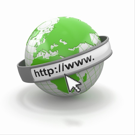 Concept of internet browser  Earth and cursor  3d photo
