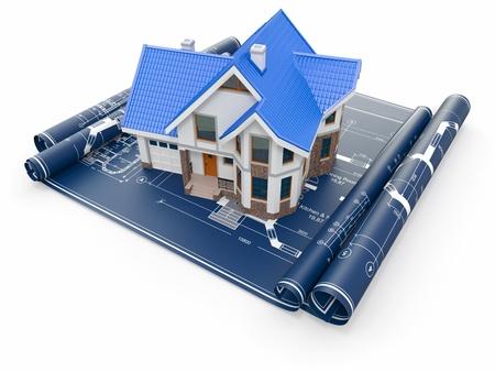housing development: Residential house on architect blueprints  Housing project  3d