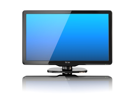 high definition: High Definition TV on white background  3d Stock Photo