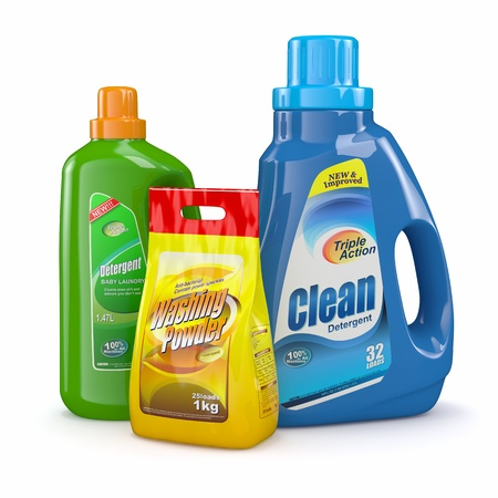 Laundry: Polvos de lavar y botellas de detergente 3d Foto de archivo