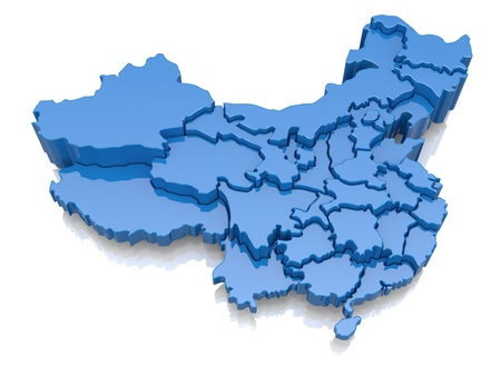 province: Three-dimensional map of China on white background  3d