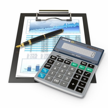 Financial concept  Stock chart with calculator and pen  photo