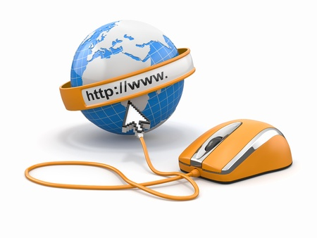 Concept of internet browser  Earth, cursor and computer mouse  3d photo