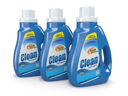 cleaning products: Botellas de plástico de detergente en el fondo blanco 3d Productos de limpieza Foto de archivo