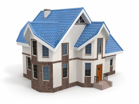 exterior shape: House on white background  Three-dimensional image  3d