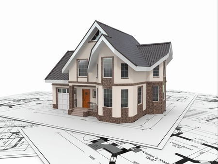 architect tools: Residential house with tools on architect blueprints  Housing project  3d Stock Photo