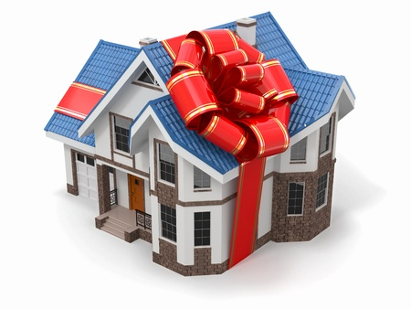 buying real estate: House gift  Mansion with ribbon and bow  3d