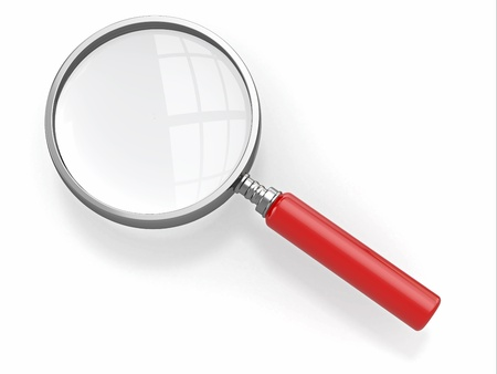 low glass: Magnifying glass  Loupe on white background  3d