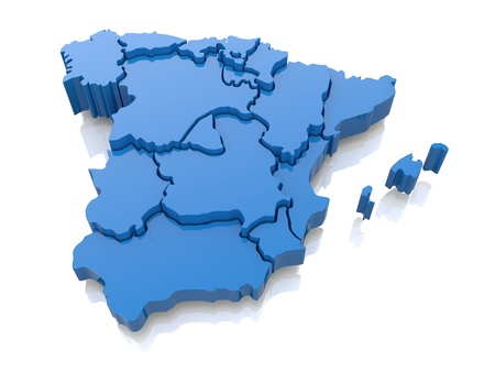 Three-dimensional map of Spain on white background  3d Stock Photo