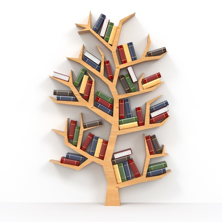 literatures: Tree of knowledge  Bookshelf on white background  3d