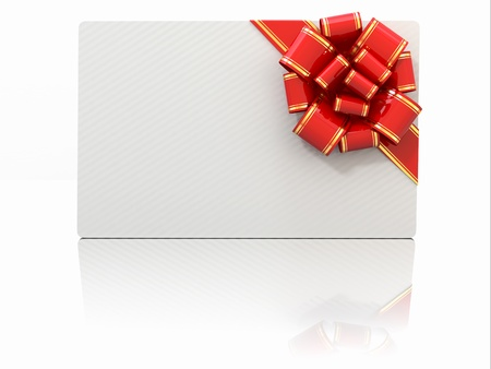 Blank gift card with ribbon and bow. Space for text. 3d Stock Photo - 17440247